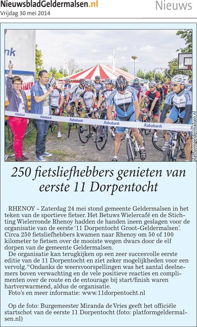 30-05-2014: 250 fietsliefhebbers genieten van eerste 11 Dorpentocht, Nieuwsblad Geldermalsen