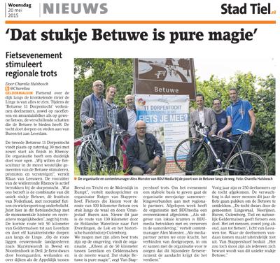 20 mei 2015: Fietsevenement stimuleert regionale trots, Stad Tiel/Buren
